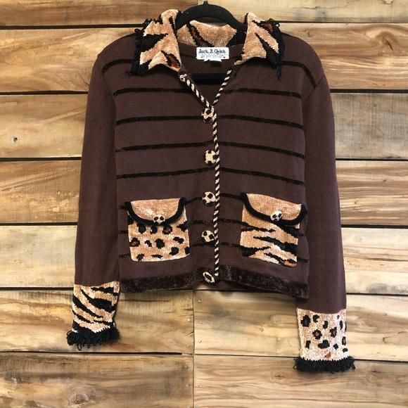Cheetah leopard brown cardigan sweater vintage